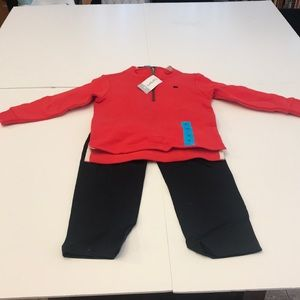 Carters red zip up jacket with black cotton pants